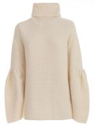 Be Blumarine Sweater L/s High Neck W/wide Sleeve - Naturale