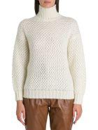 Alberta Ferretti Maglione A Collo Alto In 50%mohair 32%pa 18% Virgin Wool - Bianco