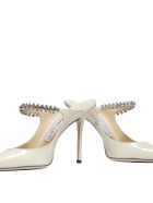Jimmy Choo Crystal Anklet Patent Mules - White