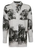 MSGM Oversized House Printed Shirt - White