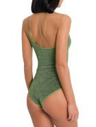 Oseree Maillot One Shoulder Lurex Swimsuit - Green