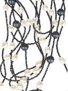 Maria Calderara Bead Embellished Necklace - Pearl Black