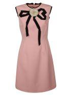 Gucci Floral Applique Dress - pink