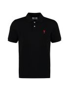 Ami Alexandre Mattiussi Patch Embroidered Cotton Piqué Polo Shirt - black