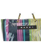 Marni Logo Striped Shopping Bag - Pink candy