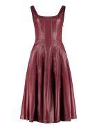 STAUD Wells Faux Leather Dress - Burgundy