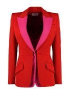 Alexander McQueen Wool Blend Single-breasted Blazer - red