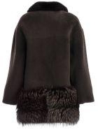 Blancha Fur Paneled Jacket - Licorice