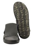 Marni Fringed Fussbett In Calfskin Black Sandals - Black