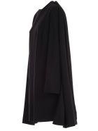Sara Battaglia Dress L/s Crew Neck Pencil W/detachable Cape - Nero