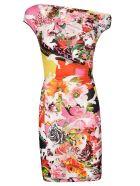 Versace Floral Print Exposed Shoulder Dress - Multicolor