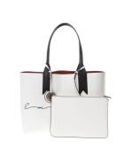 Emporio Armani Shopper Bag In White Faux Leather With Charm Logo - White