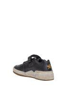 Saint Laurent Travis Sneaker In Used Look Leather - Nero