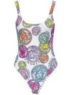 Versace Swimsuit With Medusa Amplified Print - White