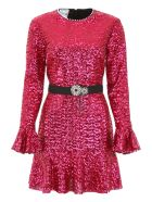 In The Mood For Love Sequins Mini Dress With Pearls - FUCHSIA (Red)