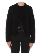 (nude) Sequined Pullover - Black