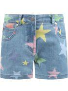 Stella McCartney Light Blue Short For Girl With Stars - BLUE