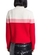 Moncler Turtleneck Sweater With Logo Intarsia - Rosso