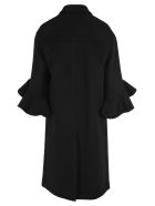 Valentino Ruffle Sleeve Coat - BLACK