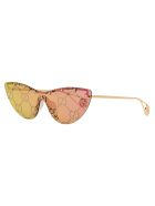 Gucci Cat-eye Mask Sunglasses - GOLD/PINK