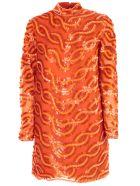SEMICOUTURE Dress Agata Pencil Paillettes - Tiger Orange