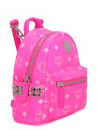 MCM Stark Neon Visetos Mini-backpack With Studs - Fuchsia