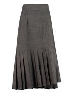 Parosh Plane Pleated Skirt - grey