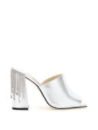 Jimmy Choo Baia Mules 100 With Crystal Drape - SILVER CRYSTAL (Silver)
