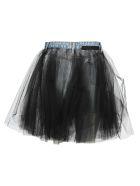 Ben Taverniti Unravel Project Unravel Tulle Layered Mini Denim Skirt - Blu