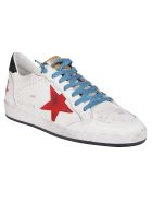 Golden Goose White Leather Ballstar Sneakers - WHITE BLUE RED