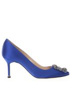 Manolo Blahnik Hangisi Blue Satin Pumps - Blue