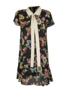 RED Valentino Silk Dress With Flower And Butterflies Print - Nero