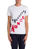Moncler T-shirt Girocollo A Maniche Corte Con Stampa Lettering Logo - Bianco