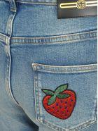 Gucci Gucci Slim Fit Logo Patch Jeans - BLUE MULTICOLOR