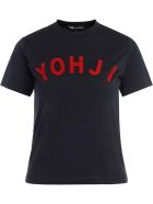 Y-3 T-shirt In Black Cotton With Red Applied Logo - NERO