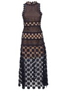 self-portrait Perforated Floral Dress - Navy