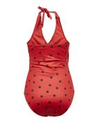Ganni Dotted Pattern Print One-piece Swimsuit - Rosso nero