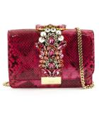 Gedebe Cliky Python Pink Fuxia Jungle Pearl Clutch - Fuxia