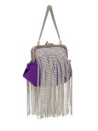 The Attico Mini Doctor Bag In Moire Con Cristalli - Viola
