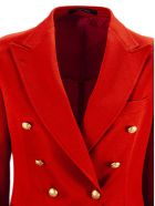 Tagliatore Red Cotton Jalicya Classic Double-breasted Blazer - Rosso