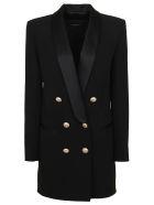 Balmain 6 Btn Satin Lapel Crepe Jacket Dress - Pa Noir