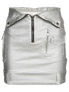 RTA Rolled Waist Skirt - Silver