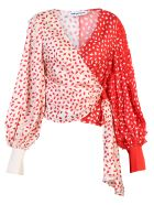 self-portrait Red Wrap Blouse - Red