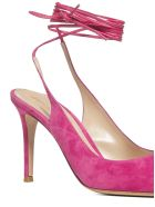 Gianvito Rossi Lace-up Suede Slingback Pumps - Fuxia fUXIA