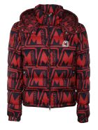 Moncler Logo Print Padded Jacket - Blue/Red