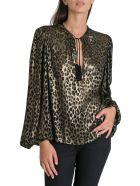 Saint Laurent Tassel Pirate Blouse In Metallic Leopard Satinet - Oro