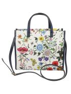 Gucci Floral Print Detail Square Tote - White Blue