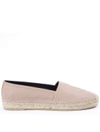 Saint Laurent Nude Leather Espadrilles With Embossed Logo - Nude