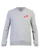 Comme des Garçons Play Embroidered Wool Sweater - Grey