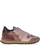 Valentino Garavani Rockrunner Pink Suede Sneakers - Powder/multicolor